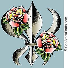 od, emblemat, tarcza, fleur, lilia