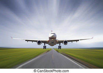 od, gagat, cielna, wpływy, samolot, bieżnia