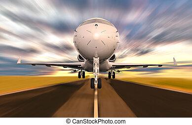 od, gagat, wpływy, prywatny, ruch, samolot, zachód słońca, plama, podczas