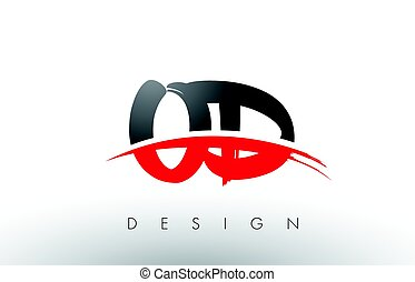 OD O D Brush Logo Letters with Red and Black Swoosh Brush...