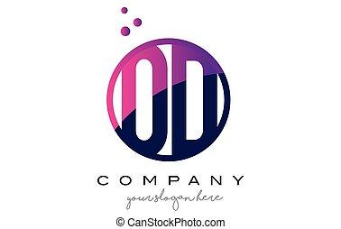 OD O D Circle Letter Logo Design with Purple Dots Bubbles -...