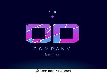 od o d colored blue pink purple alphabet letter logo icon...