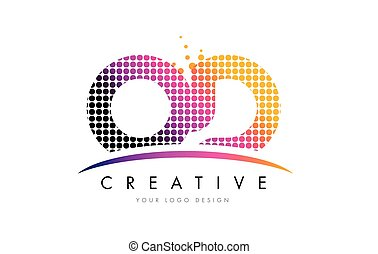 OD O D Letter Logo Design with Magenta Dots and Swoosh - OD...