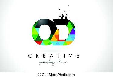 OD O D Letter Logo with Colorful Triangles Texture Design...