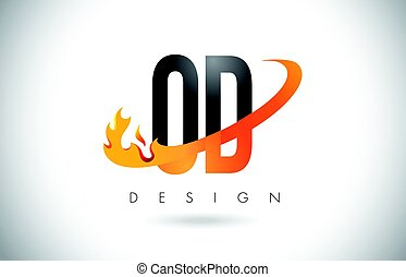 OD O D Letter Logo with Fire Flames Design and Orange...
