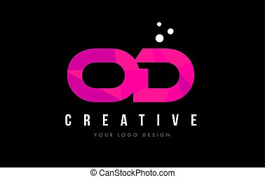 OD O D Letter Logo with Purple Low Poly Pink Triangles...