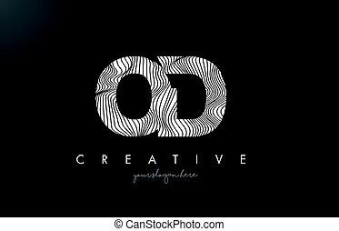 OD O D Letter Logo with Zebra Lines Texture Design Vector. -...
