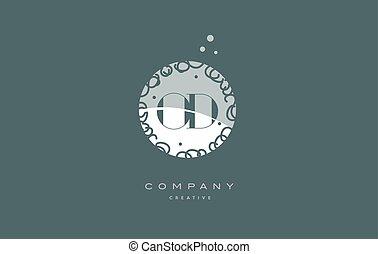 od o d monogram floral green alphabet company letter logo -...