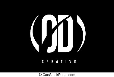 OD O D White Letter Logo Design with Black Background. - OD...