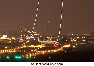 od, wpływy, długi, światła, samolot, ekspozycja