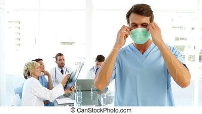 od, wpływy, maska, chirurg