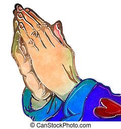 odaadás, imádkozás, szent, vízfestmény, kézbesít
