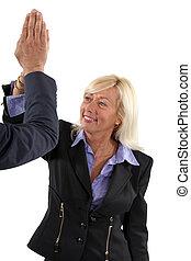 odaad, üzletasszony, idősebb ember, high-five