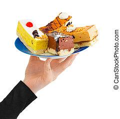 odaad, tányér, aprósütemény, kéz