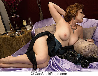 Odalisque - Sultry Redhead Lounging in her luxurious bed.