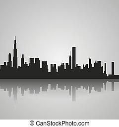 odbicie., chicago, sylwetka, czarnoskóry, wektor, ilustracja