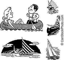 odbywanie podróży morskiej, grafika, wektor, urlop, retro
