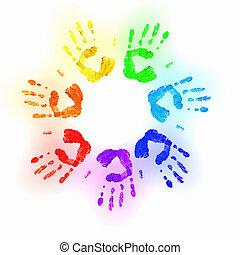 odciski, barwny, ludzkie ręki
