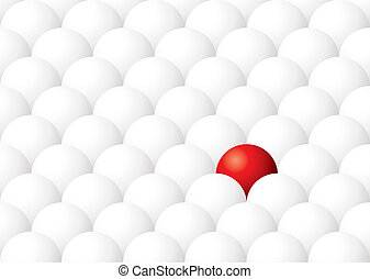 odd ball out - Illustration of being different with one red...