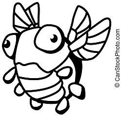 Odd Bug Small Cartoon Line Drawing