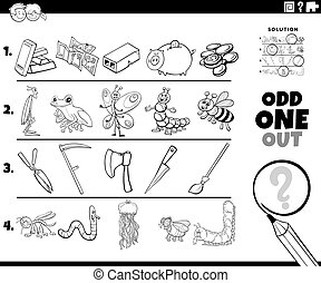 odd one out cartoon picture coloring book page