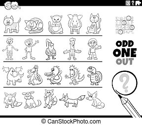 Black and White Cartoon Illustration of Odd One Oute Picture in a Row Educational Game for Elementary Age or Preschool Children with Funny Characters Coloring Book Page