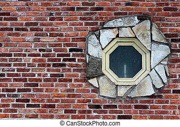 Odd shaped window in brick wall