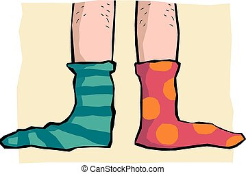 Odd Socks - Cartoon of odd socks on a pair of feet.