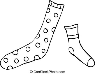 Odd Socks Vector - Vector drawing of mis-matched socks