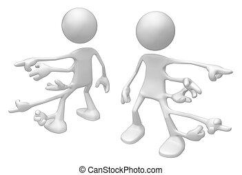 Odd White Figure, Many Hands Point - Odd white symbolic...
