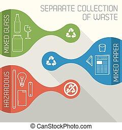 oddzielny, hazardowy, recycling, zbiór, wektor, chorągwie, tracić