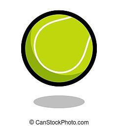 odegrajcie piłkę, tenis, odizolowany, gra, wektor, 3d, logo, kreska, sport, ikona