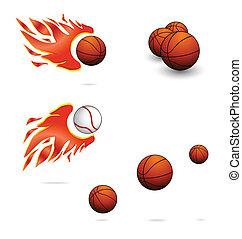 odegrajcie wystawiają, kolor, piłki, pomarańcza, sport