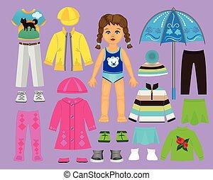 odegrajcie wystawiają, lalka, jesień, papier, creativity., część, 2., odzież