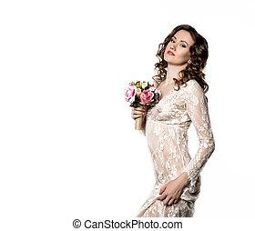 oder, bouquet., raum, fruehjahr, weißes, junger, frei, durchsichtig, braut, flowers., besitz, text, m�dchen, morgen, kleiden, dein