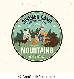 oder, briefmarke, tee., sommer- hemd, camp., vektor, begriff, illustration., druck, logo