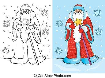 oder, buch, vater, claus, santa, färbung, frost