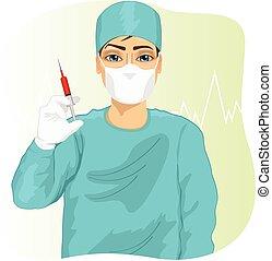 oder, doktor, maske, gesicht, besitz, spritze, krankenschwester, mann, chirurg