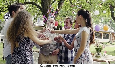 oder, draußen, feier, party, backyard., familie, kleingarten