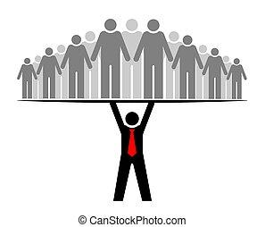 oder, gruppe, everyone., leute, ganz, boss., vorgesetzter, community., ihr, mannschaft, unterstützungen, führer