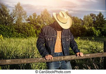 oder, landwirt, unbuttoned, mã¤nnerhemd, cowboy