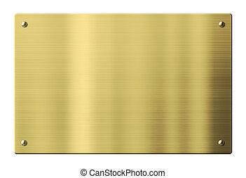 oder, pfad, ausschnitt, gold, metall, freigestellt, platte, ...