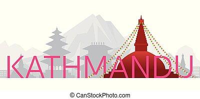 oder, wort, wahrzeichen, nepal, skyline, kathmandu, text