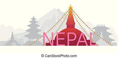 oder, wort, wahrzeichen, nepal, skyline, text