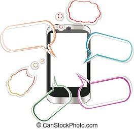 odesílání, proměnlivý, sms, moderní, poselství, ilustrace, vektor, telefonovat., nechat dopadnout, bystrý