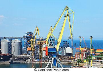 odessa, cargaison, ukraine, séchoir, grain, grue, bateau, port