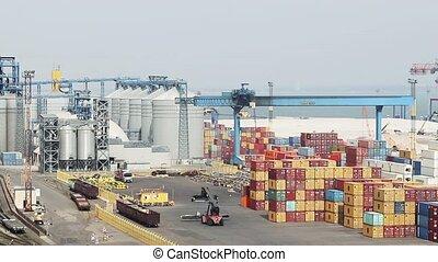 odessa, déchargement, récipients, expédition, port