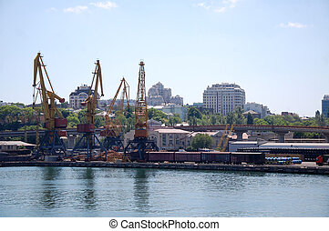 Odessa port - Water area of Odessa port and harbor cranes at...