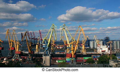 Odessa sea trading port activity timelapse (Full HD)