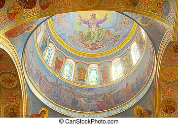 odessa, ukraine, intérieur, cathédrale, orthodoxe